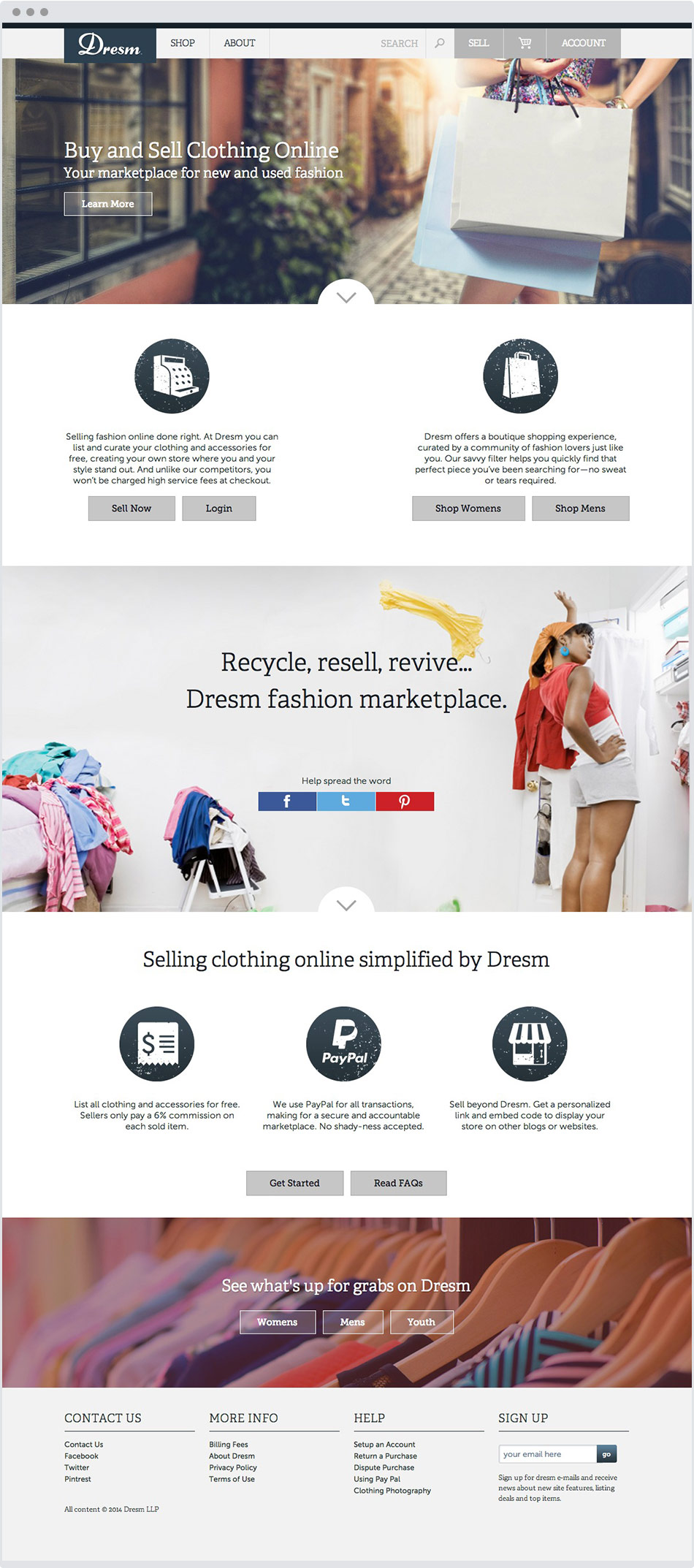 clothing ecommerce homepage