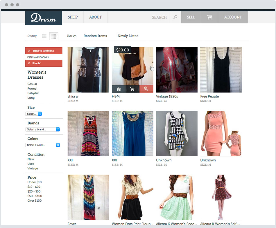 clothing ecommerce product listing page