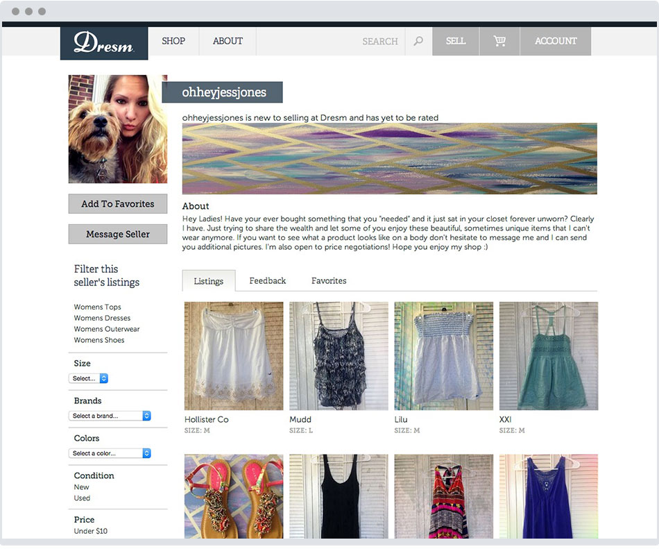 clothing ecommerce user store page