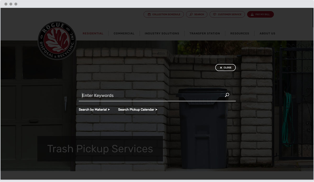website search modal window design